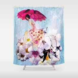 Rainy Bouquet Girl Shower Curtain