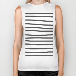 Simply Drawn Stripes in Simply Gray Biker Tank
