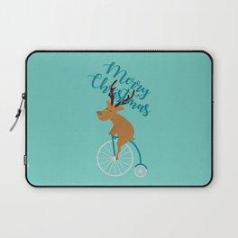 Mr Reindeer having Fun with his Penny-farthing Bicycle Laptop Sleeve