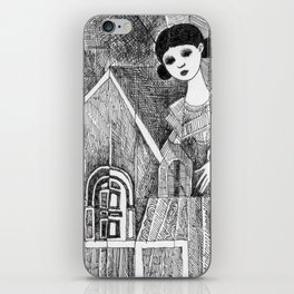 Girl on the top of her house. iPhone Skin