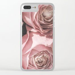 Powdery Pink Roses Clear iPhone Case