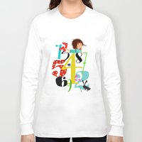 numbers Long Sleeve T-shirts featuring Emmas Numbers by Elisandra Sevenstar