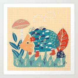 Hedgehog toadstool print Art Print