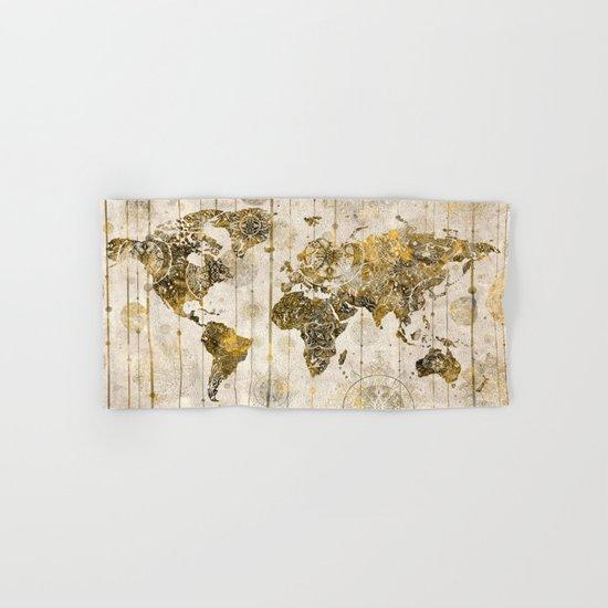 world map mandala sepia 1 Hand & Bath Towel
