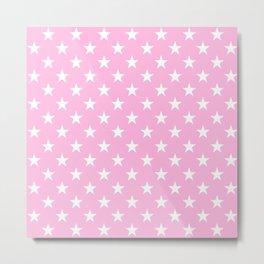 Stars (White & Pink Pattern) Metal Print