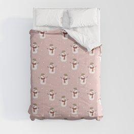Snowman Pink Snow Comforters