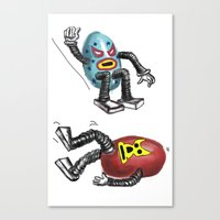 wrestling Canvas Prints featuring wrestling eggs by ronnie mcneil