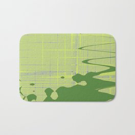 Green stain on the yellow wavy stripes tiles background Bath Mat