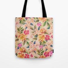 Golden Flitch (Digital Vintage Retro / Glitched Pastel Flowers - Floral design pattern) Tote Bag