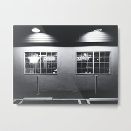 windows of the bar and restaurant in Los Angeles, USA in black and white Metal Print