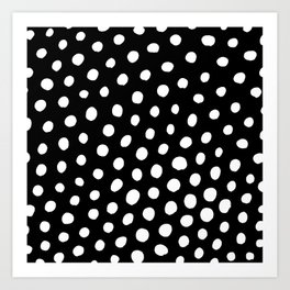 White Dots with Black Background Art Print