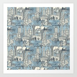 Seattle indigo pale chambray Art Print
