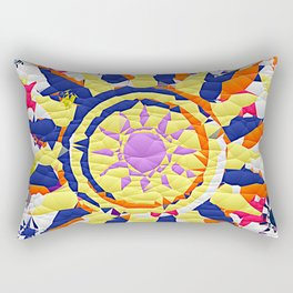 Colorful Quilted sun pattern Abstract Rectangular Pillow
