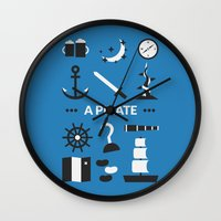 ouat Wall Clocks featuring OUAT - A Pirate by Redel Bautista