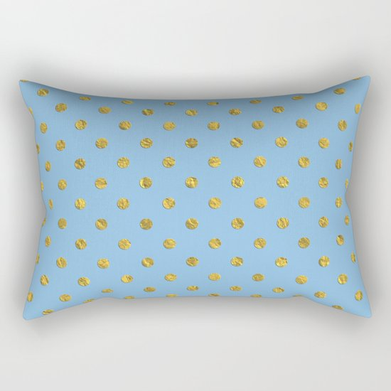 Gold polkadots on sky blue background Rectangular Pillow