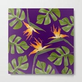 Monstera - and 3 Paradise Flowers Metal Print