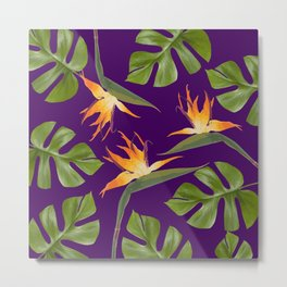 Monstera - and 3 Paradise Flowers Metal Print