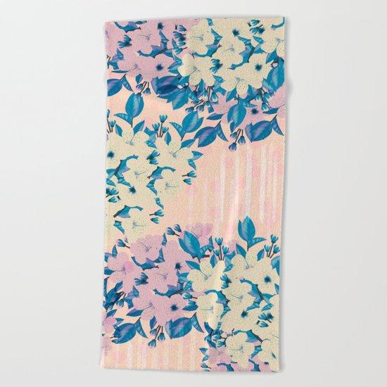 Pink Floral Beach Towel
