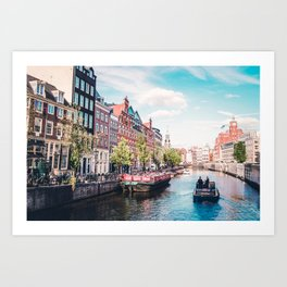 Colorful Amsterdam Canals | Europe Travel City Urban Landscape Photography Art Print