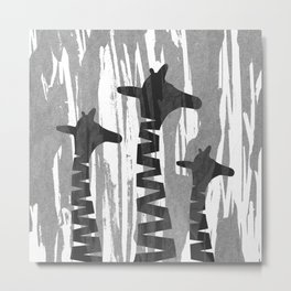 Unique Abstract Giraffe Family Metal Print