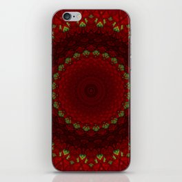 Mandala in red color with green accents iPhone Skin