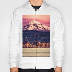 Mountains and Forest Water Sunset - Mt Hood Snow Mountain over Columbia River Hoody