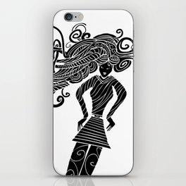 Long hair woman silhouette iPhone Skin