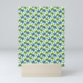 WEED LOVE, LIME GREEN BLUE Cannabis Smoke Marijuana Mini Art Print