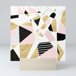 Modern gold geometric abstract design Mini Art Print
