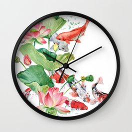 Koi Fish Pond With Large Lotus Flowers Leaves Watercolor Painting Chinese Style Wall Clock