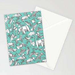 origami animal ditsy mint Stationery Cards