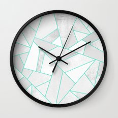 White Stone with Turquoise Lines Wall Clock
