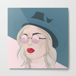 Portrait of a girl wearing a fedora hat and sunglasses. Metal Print