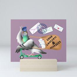 Pigeons Express (Mauve Background) Mini Art Print