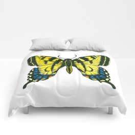 Tiger swallowtail butterfly watercolor and ink Comforters