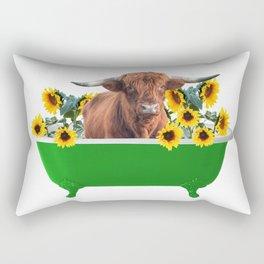 Highland cow - green Bathtub - sunflower blossoms Rectangular Pillow
