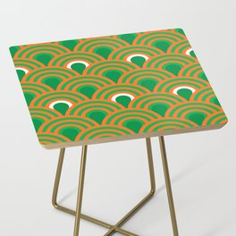 retro sixties inspired fan pattern in green and orange Side Table
