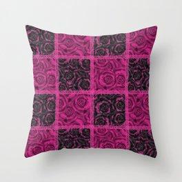 Raspberry patchwork Roses. Throw Pillow
