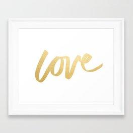 Love Gold White Type Framed Art Print