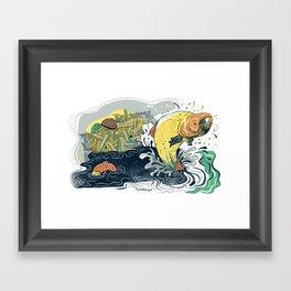 Salmon Jumping Framed Art Print