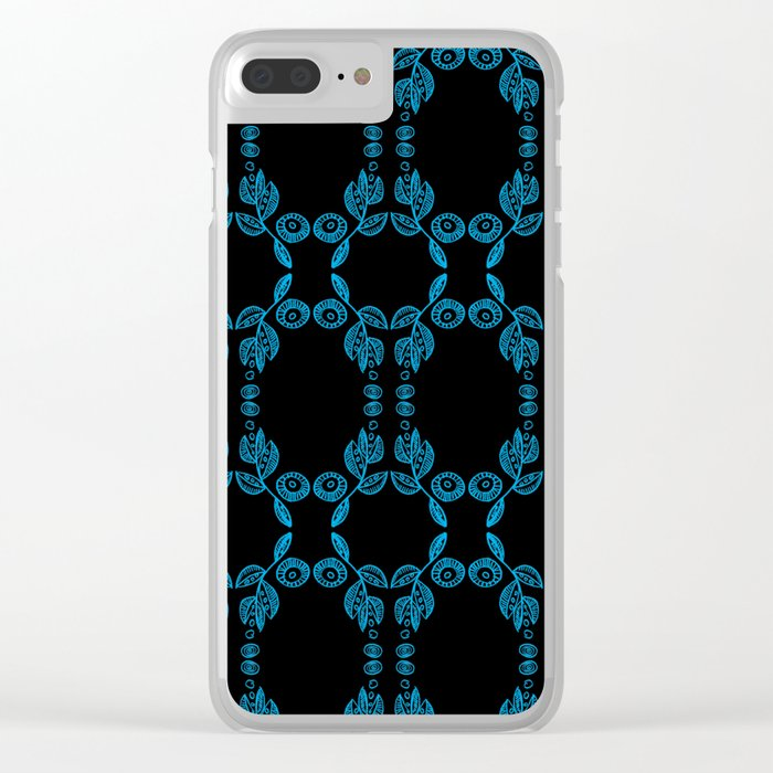 Hand drawn Seed Pods Bright Blue on Black Clear iPhone Case