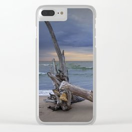 Sunrise on the Beach with Driftwood at Oscoda Michigan Clear iPhone Case