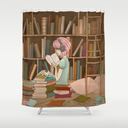 I Love Books Shower Curtain