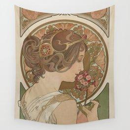 PRIMROSE Flower 1899 Alphonse Mucha Wall Tapestry