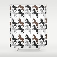 horses Shower Curtains featuring horses by ahnia