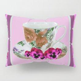 CERISE PANSY FLOWERS ANTIQUE TEA POTS & CUPS Pillow Sham