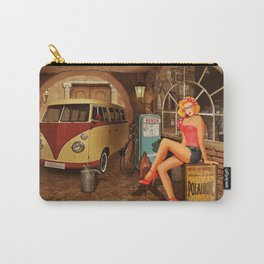 Pin up girl in nostalgic workshop Carry-All Pouch