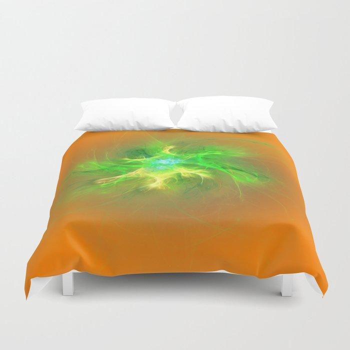 Green Burst Fractal Duvet Cover
