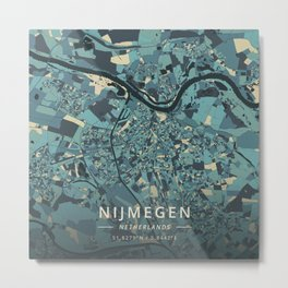 Nijmegen, Netherlands - Cream Blue Metal Print