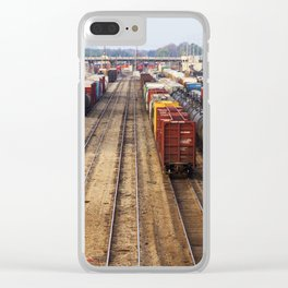 Trains at the Rail Yard photo Clear iPhone Case